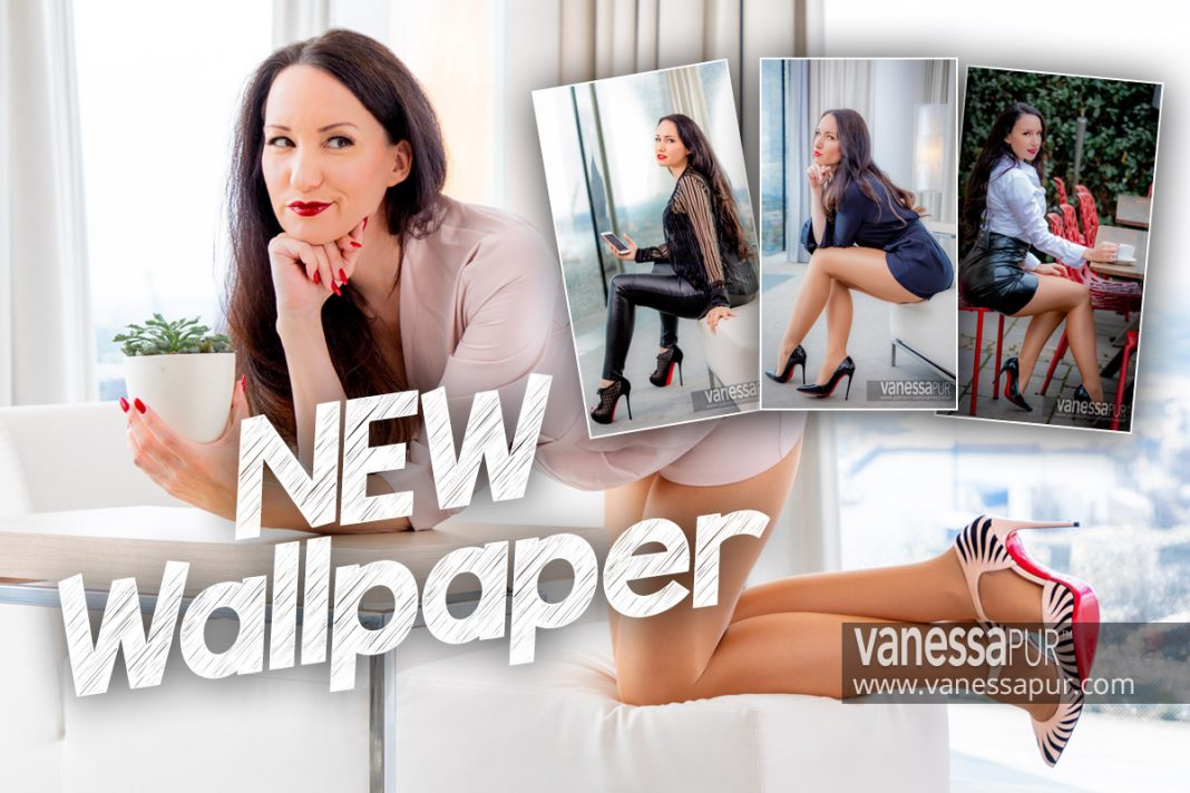 Vanessa Pur free wallpaper for desktop and smartphone - free download - long legs - pantyhose high heels and leather pants