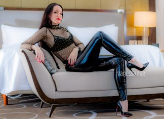 Black vinyl pants - tights patent pants and sheer top, shiny bum with red soles party outfit